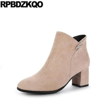 Ankle Chunky Cheap Women Big Size Fur Shoes 10 Square Toe Side Zip Boots Beige 2017 High Heel Fall Rhinestone Booties Female New(China)