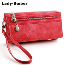Lady Beibei New vintage design women wallet long female clutch zipper wallets big capacity purse cellphone bag pocket