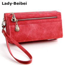 Lady Beibei New vintage design women wallet long female clutch zipper wallets big capacity purse cellphone bag pocket(China)