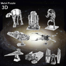 Millennium Falcon Earth 3D Metal Model Kit For Children Assemble DIY IQ Brain Jigsaw Puzzles X-Wing AT Fighter Educational Toys