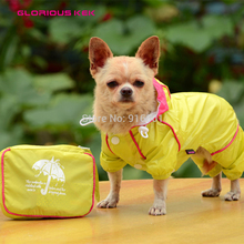 2015 Newest Dog Raincoat with Pouch Quality&Fashion Design Waterproof Yellow and Blue Dog Raincoats Large Dog Raincoat Four Legs