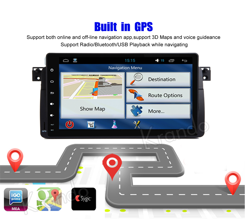 krando android car radio gps for bmw e46 m3 9 inch navigation multimedia system (6)