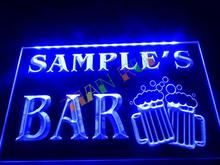 DZ028- Name Personalized Custom Home Bar Beer Mugs Cheers Neon Sign hang sign home decor shop crafts(China)