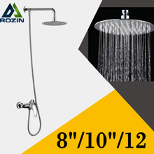 Modern Design Wall Mount Single Handle Shower Faucet Mixer Taps 8/10/12 Brass Rainfall Showerhead in Chrome(China)