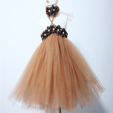 2016  new desigh  coffer color with headband Amazing Fluffy Color Train Tulle Kids Tutu Dess Girl Evening Dress Party Birthday