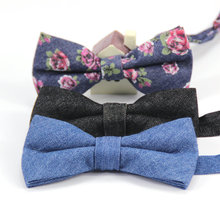Men's Classic Adjustable Denim Cotton bowtie Boys Childrens Students Solid butterfly Bow Tie Holiday Birthday Party Accessories(China)