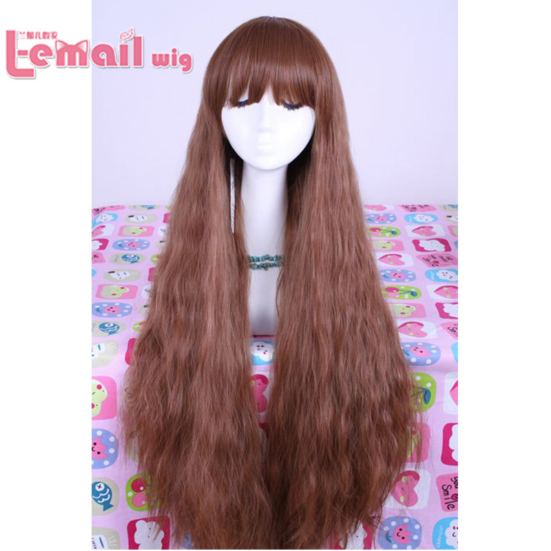 2017 New Stylish Goddess Scalded Corn 91cm/35.83inch Brown Long Curly Wigs Anime Cosplay Wigs<br><br>Aliexpress