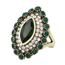 4 Color Luxury Green Ring Gold Color Vintage Turkish Jewelry Red Resin Crystal Ring For Women Wedding