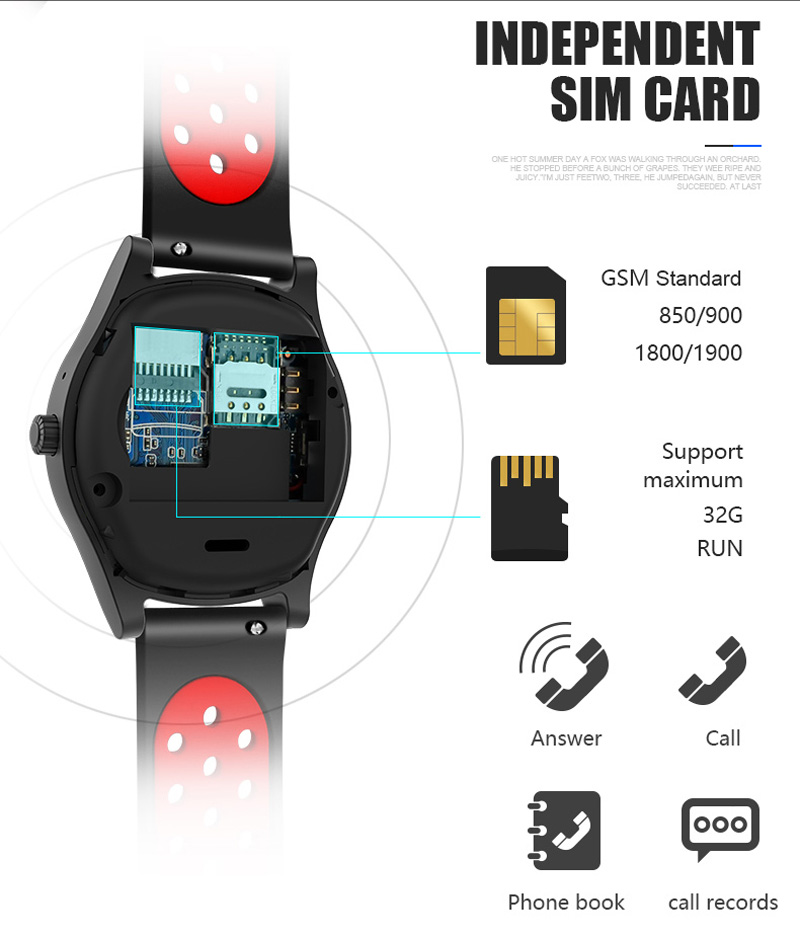 Volemer Smart Watch TF8 Sports Fitness Watch Support Memory Card SIM Card Phone Smartwatch Bluetooth Android Smart Wristwatch (18)
