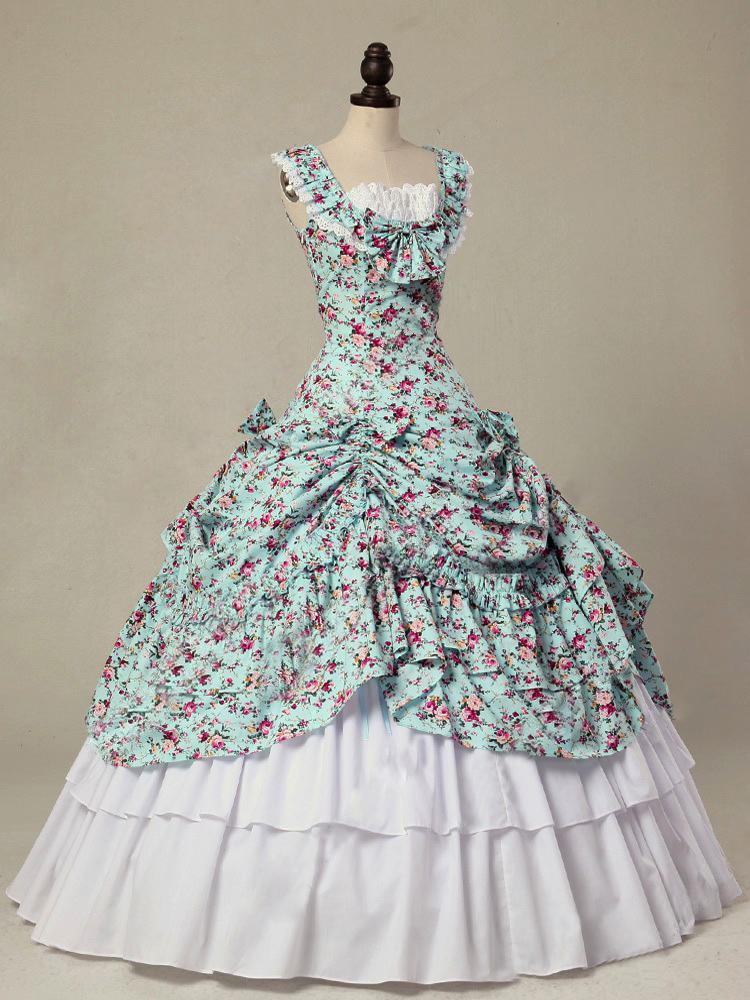 Victorian Civil War Floral Ball Gown Masquerade Period Dress Princess Theatre