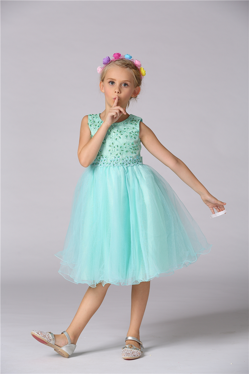1 Pcs 2T-10T  Girl Dresses Lace Flowers Princess Style Dresses Sleeveless Voile Girl Dresses Spring Summer Autumn V20<br>