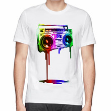 Great design man t-shirt Melting Boombox CD print men cotton t shirt