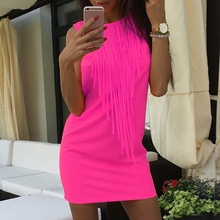 Oioninos Summer Women Sexy Dress Fluorescent Color Tassel Casual Dress Sleeveless Slim Fit Mini Dress Vestidos