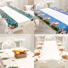 110x180cm Christmas Tablecover Xmas Party Dining Kitchen Table Cover Clean Cloth Skirt Decoration Festival Restaurant Home Decor