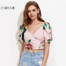 COLROVIE Puff Sleeve Floral Blouse Cute Wrap Crop Tops 2017 Women Mixed Print Summer Tops V Neck Sweet Ladies Zip Slim Blouse(China)