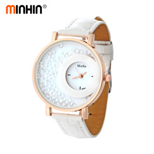 MINHIN Women Quartz Watch Ladies Leather Strap Bracelet Quicksand Rhinestone Wristwatch Relogios Feminino Luxury Gift Watch