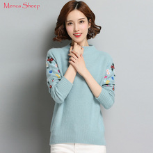 Women's Sweaters Hot Sale 100% Cashmere Pullover ladies New Fashion Khitwear Woolen Knitted Clothes O neck Flower Standard Tops(China)