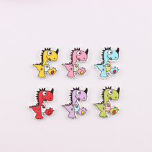 50Pcs Multicolor Kawaii Dinosaur Botones Knopf 2 Holes DIY Random Wooden Buttons Sewing Scrapbooking Accessories 26*21mm