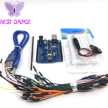 Starter Kit for arduino Uno R3 - Bundle of 5 Items: Uno R3, Breadboard, Jumper Wires, USB Cable and 9V Battery Connector(China)