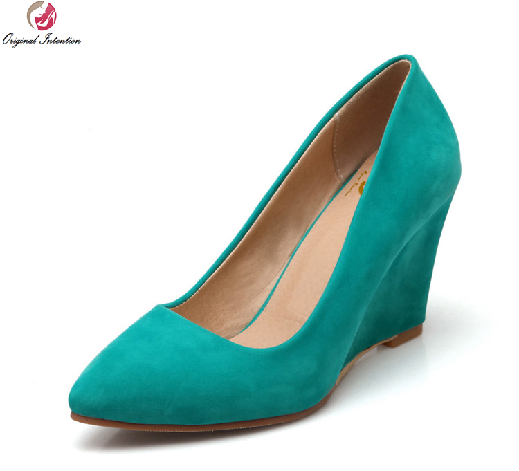 Original Intention High-quality Women Pumps Elegant Pointed Toe Wedges Pumps Fashion Black Red Beige Green Popular Shoes Woman<br>