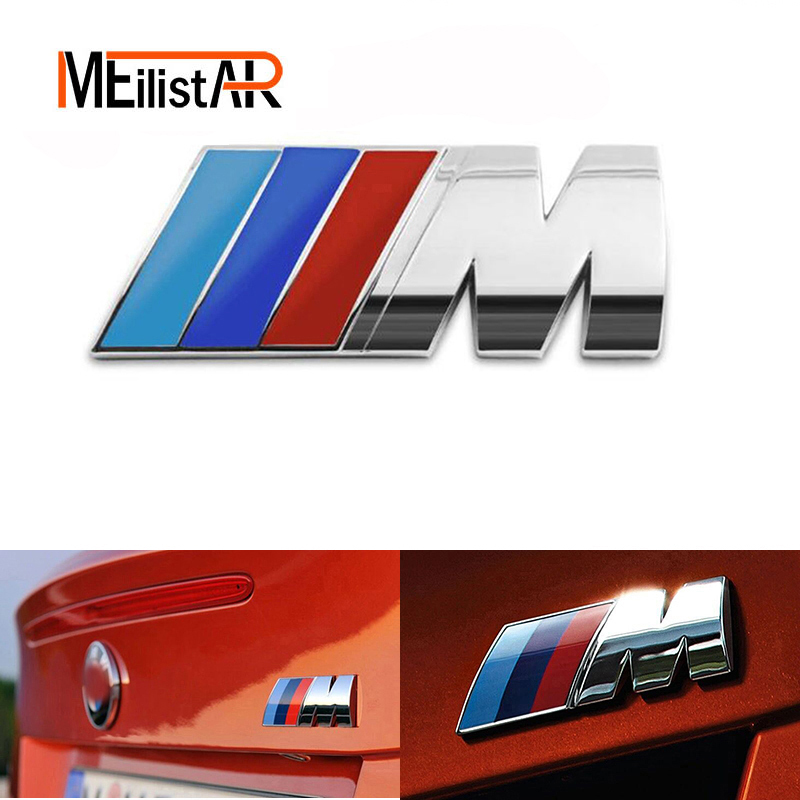 Car styling M power Motorsport Metal Logo Car Sticker Rear Trunk Emblem Badge BMW E46 E30 E34 E36 E39 E53 E60 E90 F10 F30 M3