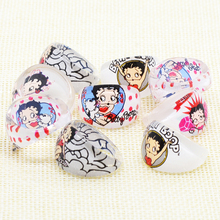 Wholesale Jewelry Accessories Lots Lovely Cartoon Betty Boop kids Pretty Ring Party Supplies Birthday Gift Acrylic Girl a Ring