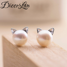 2017 New Arrivals 925 Sterling Silver Imitation Pearl Cat Earrings For Women Fashion Jewelry sterling-silver-jewelry pendientes
