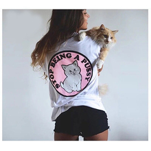 Cartoon Woman Basic T-shirt Pink Cat Punk Hiphop Style Cotton Sexy Funny T Shirts Woman Street Fashion Tops Tees KH816904