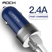 ROCK Metal Sitor Car Charger 5V 2.4A Fast Charge Dual Ports For iPhone Xiaomi Samsung Phone Travel LED Blue Light Charger(China)