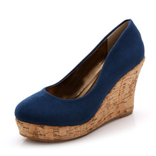 Pumps women wedges shoes wood grain sole platform lady round toe slip on shallow high heel shoes(China)