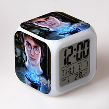 Movie Figures Harry Potter Digital Alarm Clock LED 7 Color Flash Changing Touch Light Funny Toys for Children