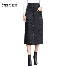 Women Fashion Down Feather High Waist Skirt Gilr Winter Warm Long Faldas Saia Funny Nice Multifunction Solid Clothes Skirts(China)