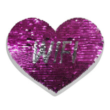 Girls clothes Diy patch deal with it heart WIFI Rose red Golden flip the double sided sequins patches for clothing stickers(China)