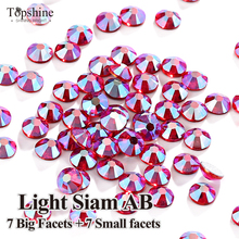 SS16 SS20 Light Siam AB Glitter 1440 Pcs Glass Material Light Siam AB Original 7 Big + 7 Small 14 Facets Hotfix Rhinestones
