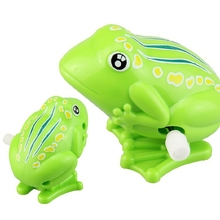 Kids Wind Up Clockwork Toy Mini Pull Back Jumping Frog for Children Boys Girls Toy(China)