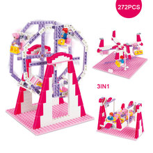 3IN1 Pink Dream Girl's Amusement Paradise Ferris Wheel Pirate Ship Flying Chair Model Building Blocks Toy Best Gift For Girls