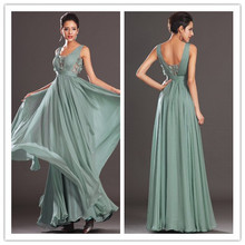 new arrival V-neck sage green floor length long formal evening dresses ruched bodice low back chiffon prom gown PM111803(China)