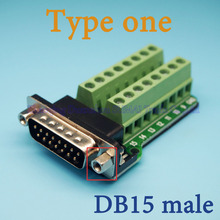 Male Parallel 2 rows 15 pins DB15 Serial port turn to wire terminals DR15 male socket turn to terminal(China)