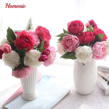 Artificial Peony Bouquet Silk Flowers for Wedding Hotel Home Decor Floral(China)