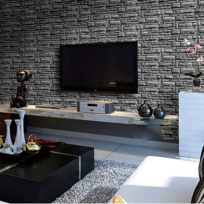 living room 3d background vintage black brick vinyl wallpaper roll 10 meters free shipping<br>