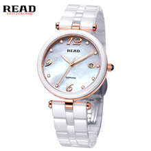 READ 2017 fashion Simple white ceramic wrist band rose gold embellishment Digital and Dril face waterproof watch woman 3001