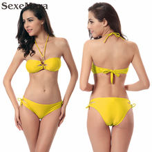 2017 Hot Sexy Women Cross Tied Bikini Bottom Sides Beaded Neck Halter Vintage Model Micro yellow green orange Bikini Set
