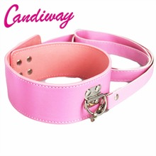 Buy CandiWay Pink Leather lock Bdsm Fetish Bondage Sex Collar Leash Adult Game Collars Sex Toys Slave Collar Erotic Neck Collar