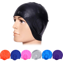 Adults Waterproof Swimming Caps Silicone Men Women High Elastic Solid Colors Ear Protection Swim Hat shop BB55