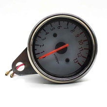 Motorcycle Tachometer Backlit Motorcycle Odometer Motorbike Pointer Reddish Brown LED Stainless Steel Material Motor Gauge Meter