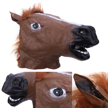 Horse Head Mask Creepy Fur Mane Latex Realistic Mask Full Face Silicone Crazy Mascara Creepy Party Halloween Adult Costume Mask