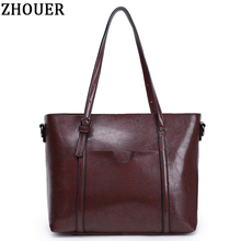 High Quality Luxury Women Handbag Designer Famous Brands Oil Wax Leather Messenger Bag Vintage Large Capacity Shoulder Bag JZ277