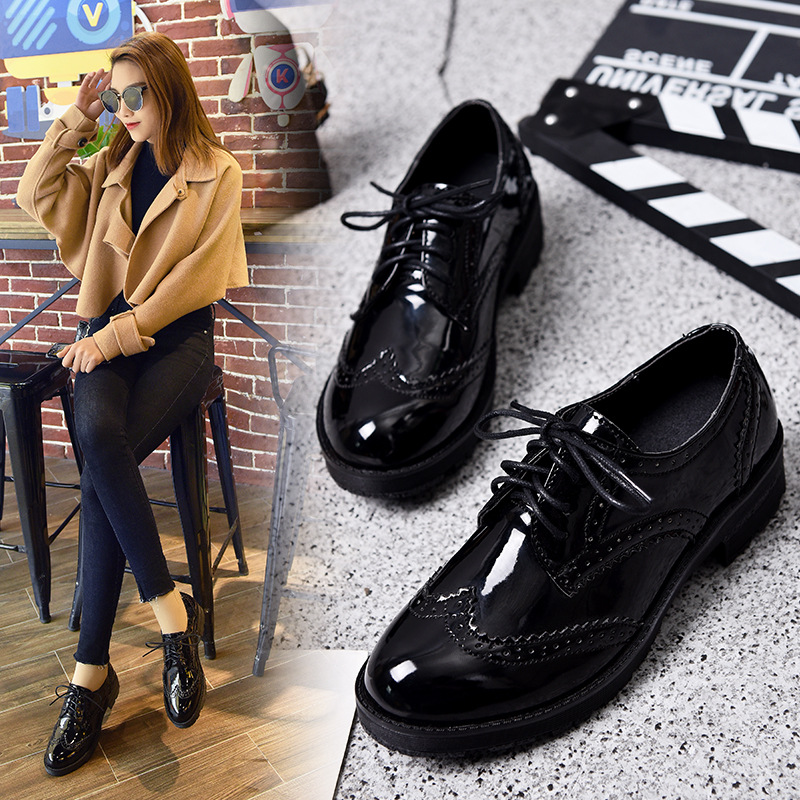 Women Lace up Platform Oxfords Shoes Round Toe Flat Heel Creeper Shoes College