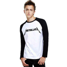 Heavy Metal Music Band Metallica PVC Letter Print Raglan Long Sleeve T-shirt Swag Skate Printed Tshirt Men Tee Shirts Streetwear