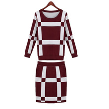 Autumn New Two Piece Set Winter Women Long Sleeved Knitted Plaid Tops and Skirt Set 2pcs Sweater Female Tracksuit Ladies Clothes(China)
